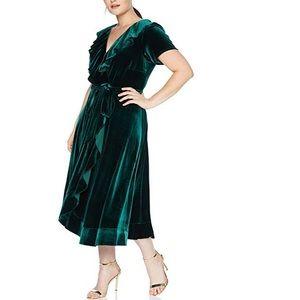 Gabby Skye Velvet Ruffle Dress In Forrest Green